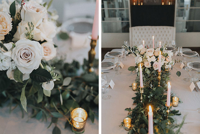wedding florals and candles