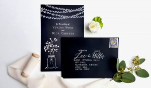 wedding black envelopes with names