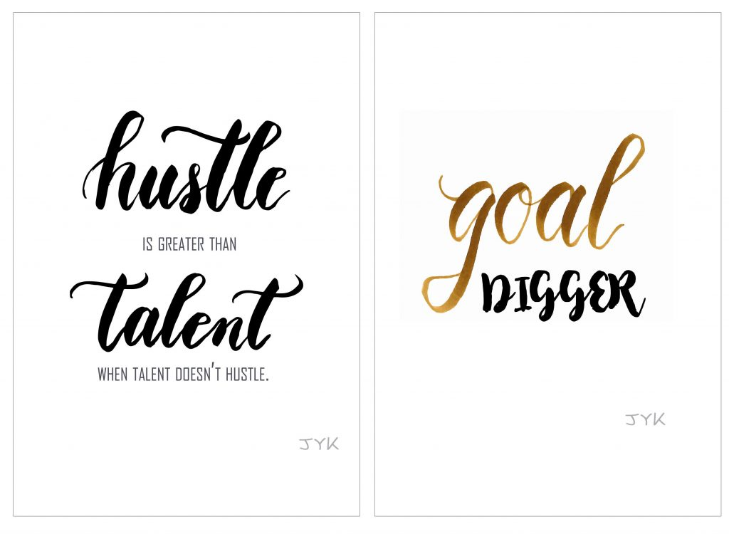 wall art hustle brush calligraphy