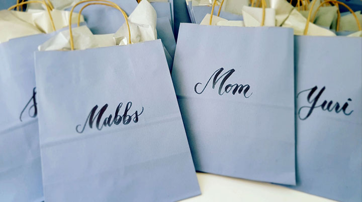 Wedding Calligraphy Paper Bags