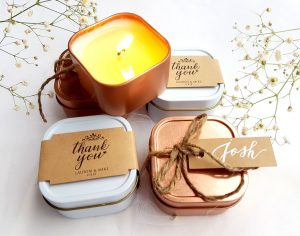 Wedding Candles in Rose Gold Cans