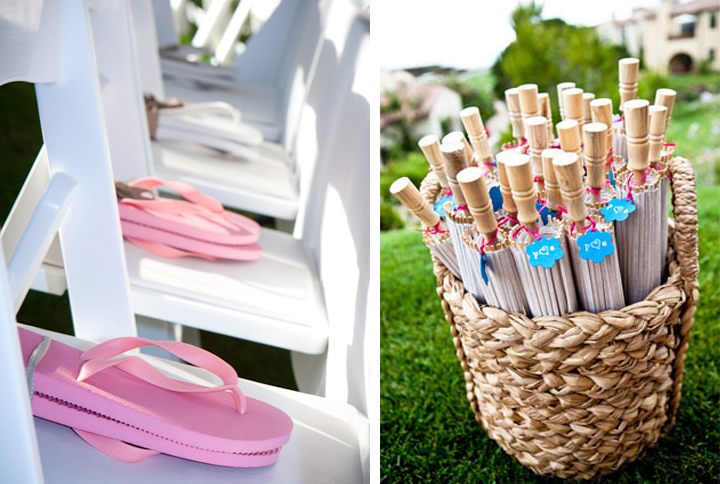 flip flops and umbrella wedding favors