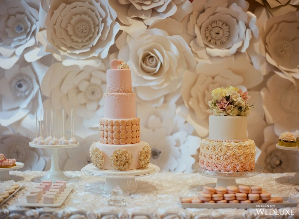 pink and gold wedding theme cake