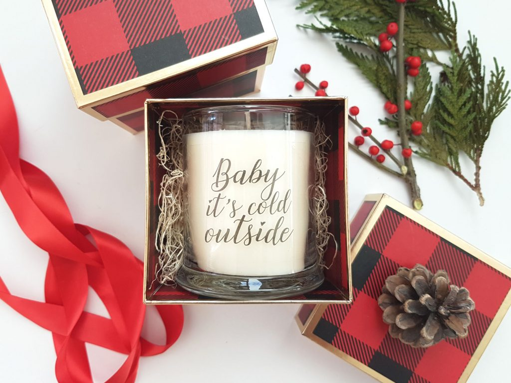 Last minute gift Christmas candle gift box