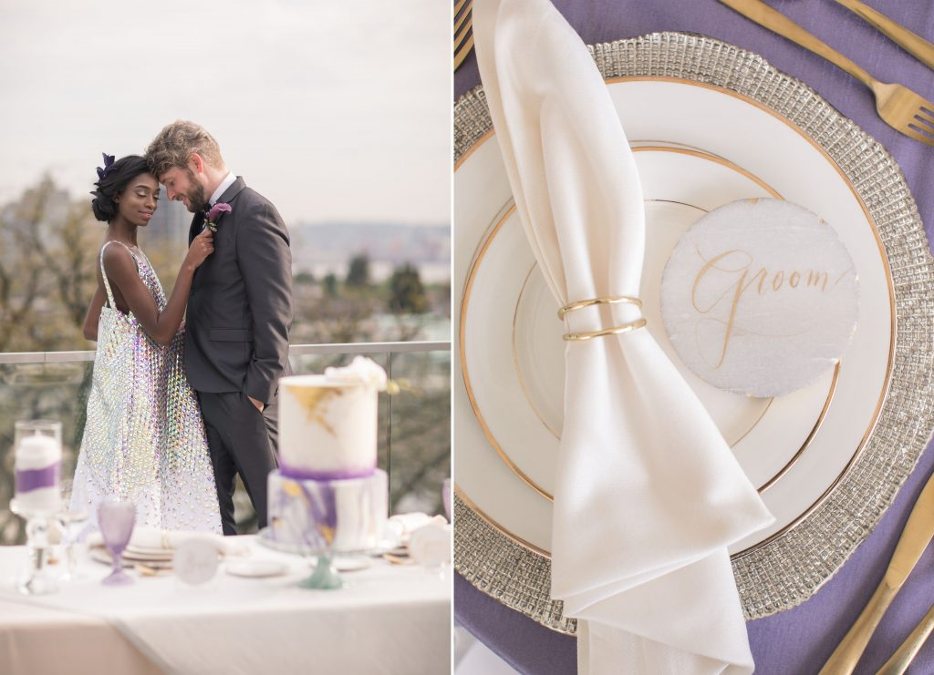 wedding editorial purple and gold